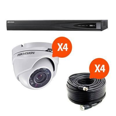 Kit video surveillance Turbo HD Hikvision 4 caméras dôme