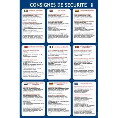 Consignes de securite pour une chambre d hotel en 9 langues