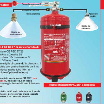 EXTINCTEUR HFC FIREKILL1 KG AUTOMATIQUE AVEC TIRETTE